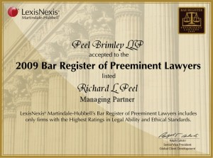2009 Bar Register of Preeminent Lawyers Richard L. Peel