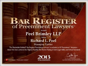Bar Register of Preeminent Lawyers Richard Peel 2013