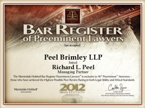 Bar Register of Preeminent Lawyers Richard L. Peel 2012