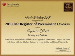2010 Bar Register of Preeminent Lawyers  Richard L. Peel