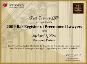 2009 Bar Register of Preeminent Lawyers Richard L. Peel