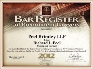 Bar Register of Preeminent Lawyers Richard L. Peel 2012