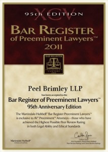 Bar Register of Preeminent Lawyers 2011